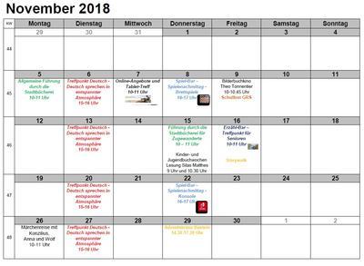Veranstaltungen November 2018 - Vorschau