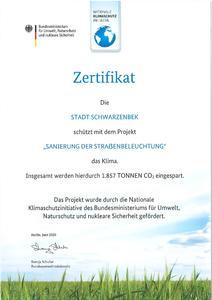 Zertifikat - Sanierung der Straßenbeleuchtung I