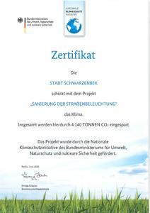 Zertifikat - Sanierung der Straßenbeleuchtung II